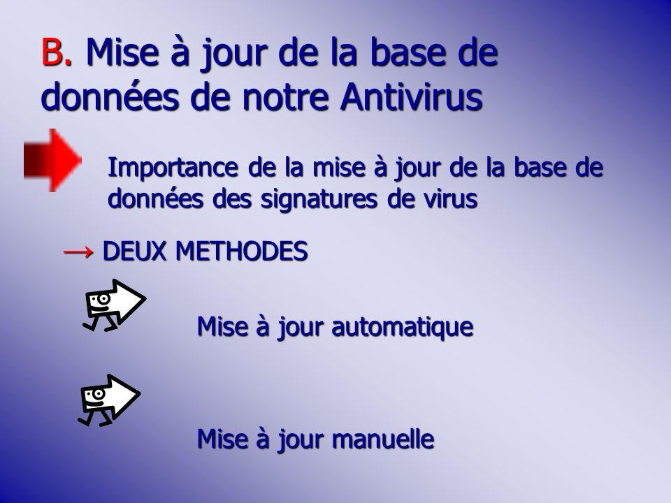 B. Mise à jour de la base de données de notre Antivirus