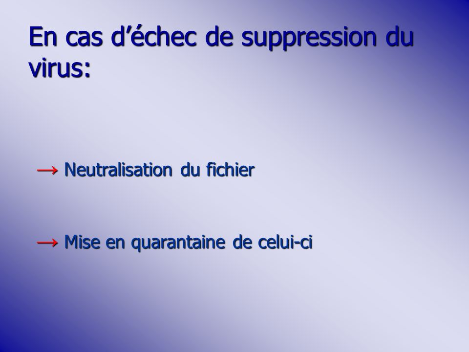 En cas d'échec de suppression du virus:
