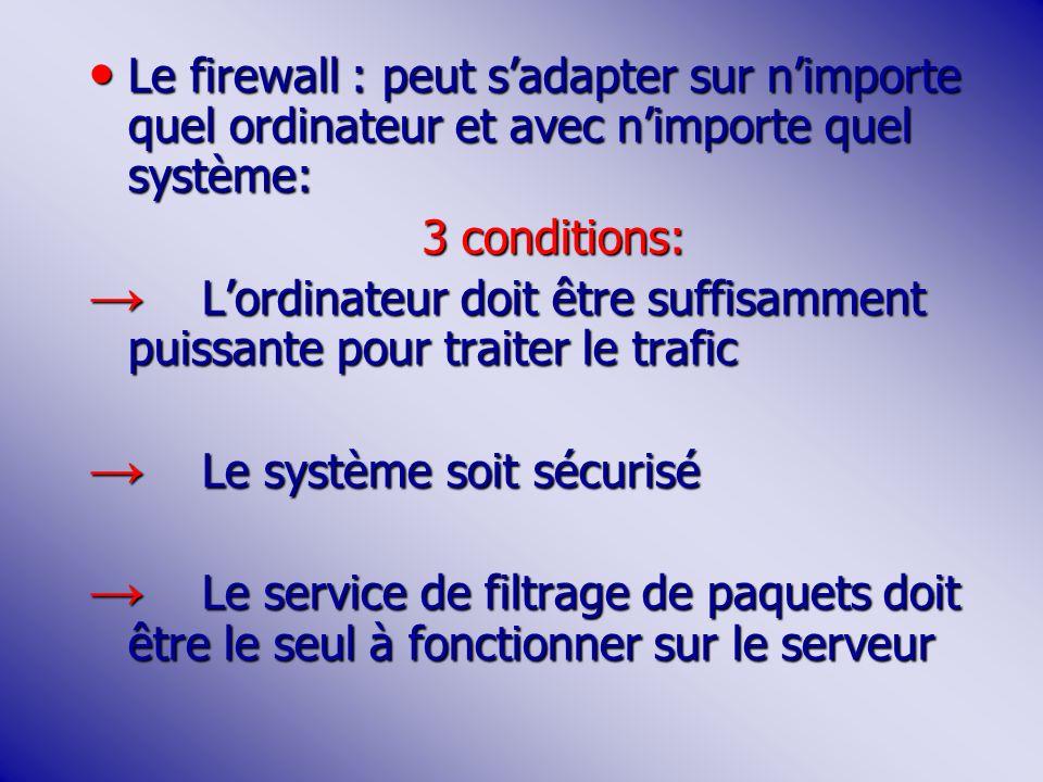 Le firewall : peut s'adapter sur n'importe quel ordinateur et avec n'importe quel système:
