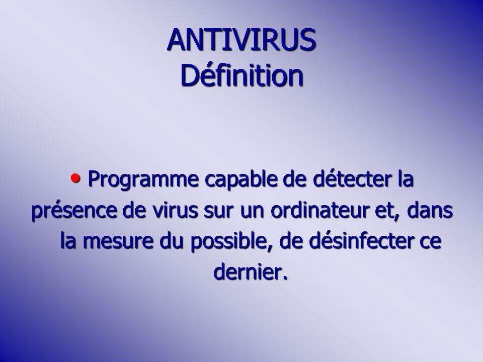 ANTIVIRUS Définition Programme capable de détecter la