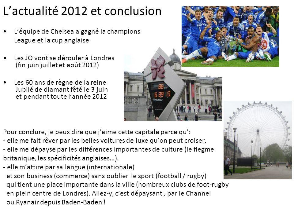 L'actualité 2012 et conclusion