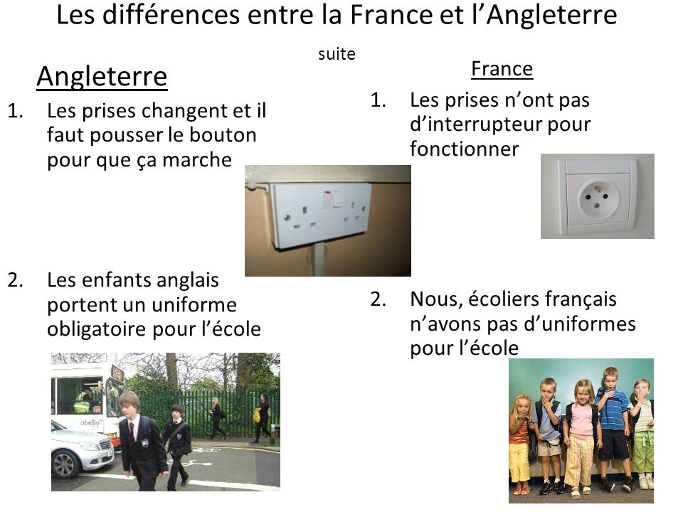 Les différences entre la France et l'Angleterre suite