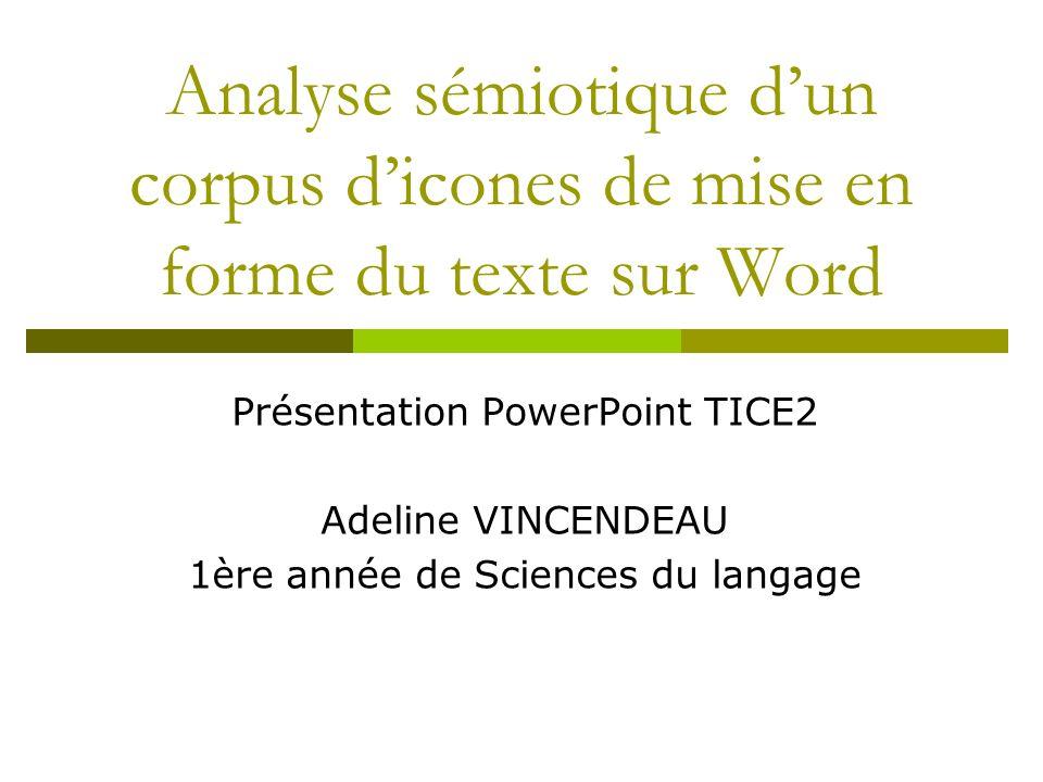 Analyse sémiotique d'un corpus d'icones de mise en forme du texte sur Word