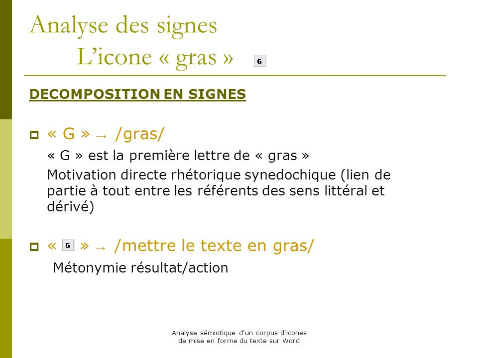 Analyse des signes L'icone « gras »