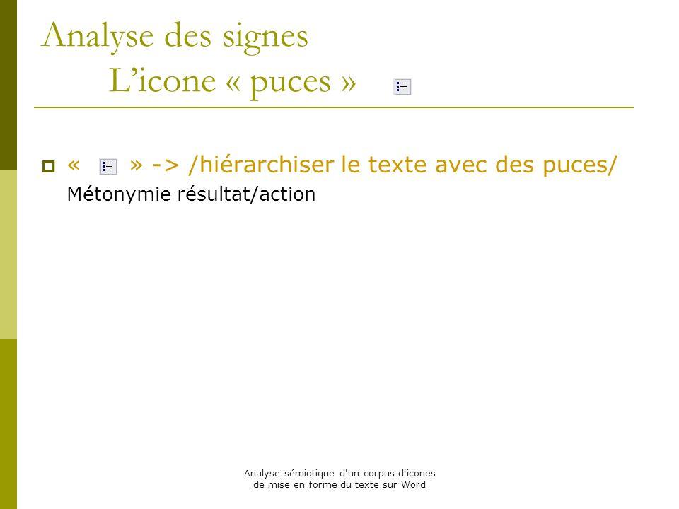 Analyse des signes L'icone « puces »