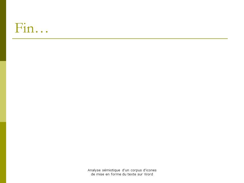 Fin… Analyse sémiotique d un corpus d icones de mise en forme du texte sur Word