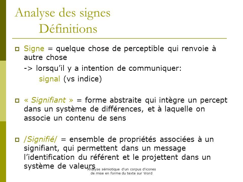 Analyse des signes Définitions