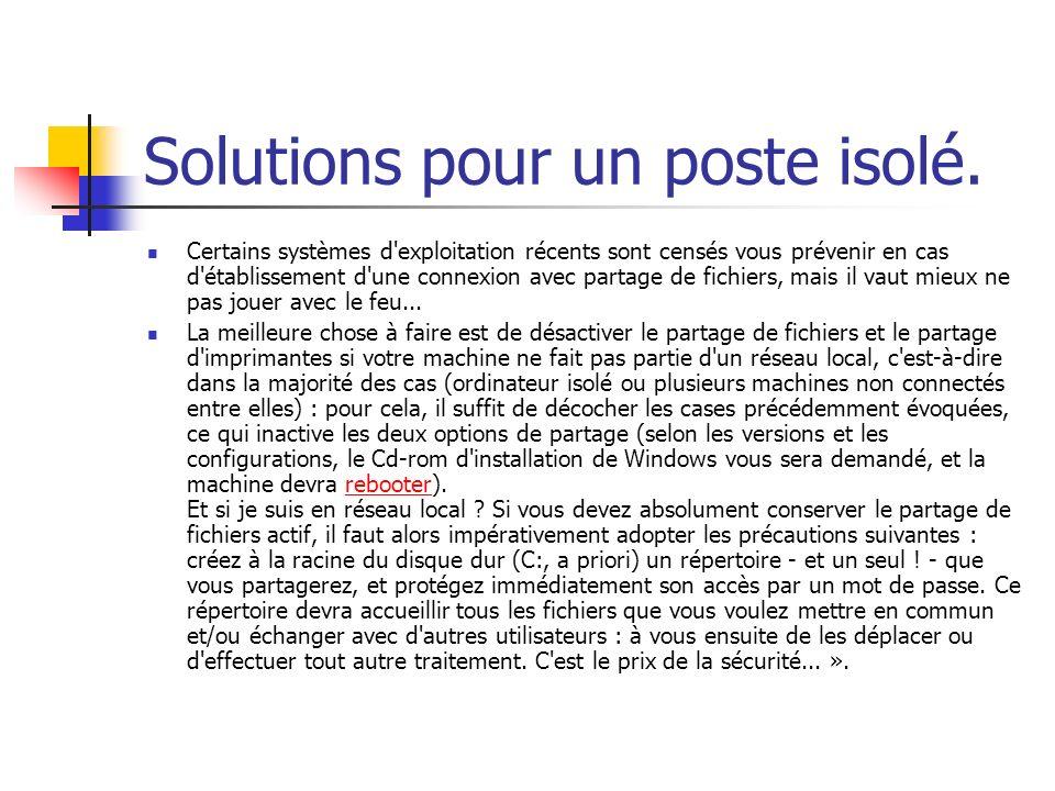 Solutions pour un poste isolé.