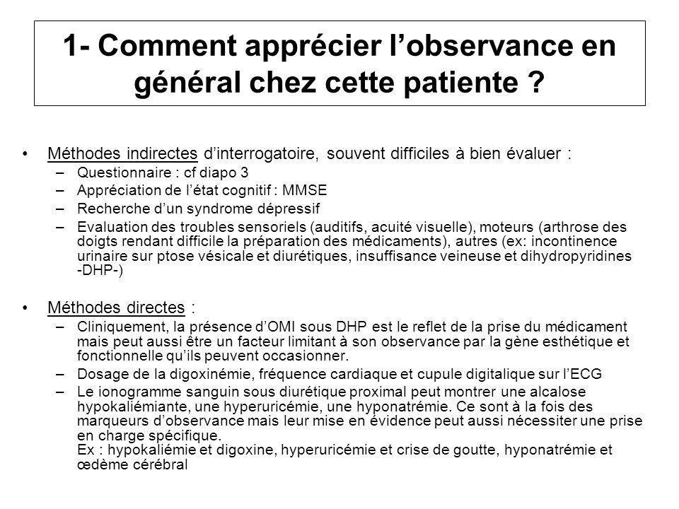 1- Comment apprécier l'observance en général chez cette patiente