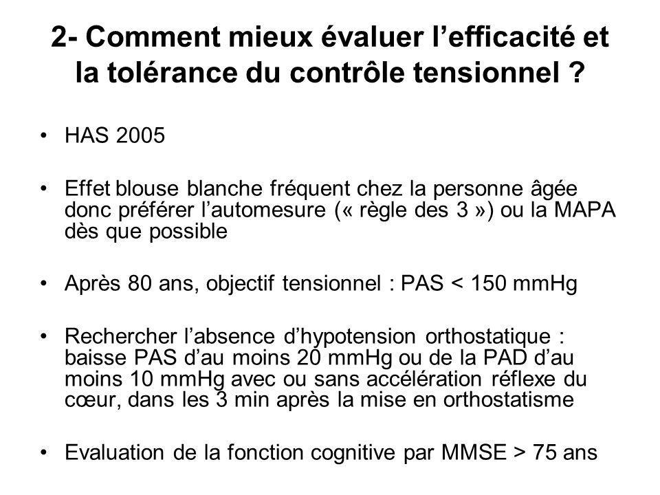 2- Comment mieux évaluer l'efficacité et la tolérance du contrôle tensionnel