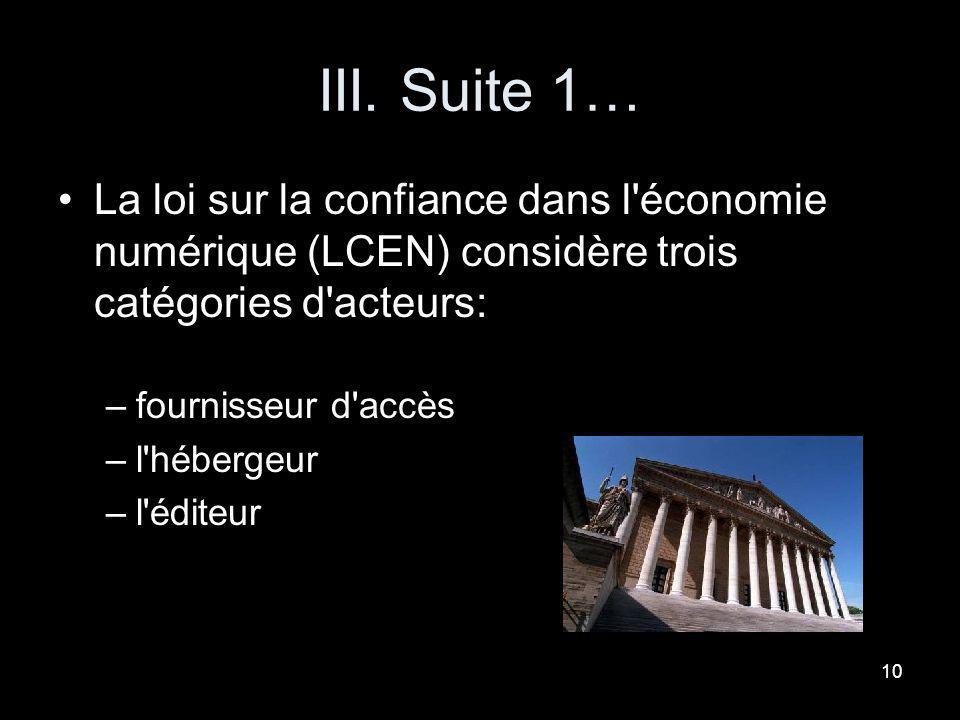 III. Suite 1… La loi sur la confiance dans l économie numérique (LCEN) considère trois catégories d acteurs: