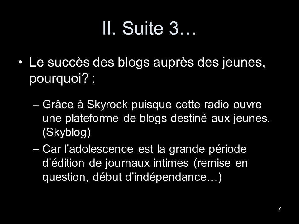 II. Suite 3… Le succès des blogs auprès des jeunes, pourquoi :