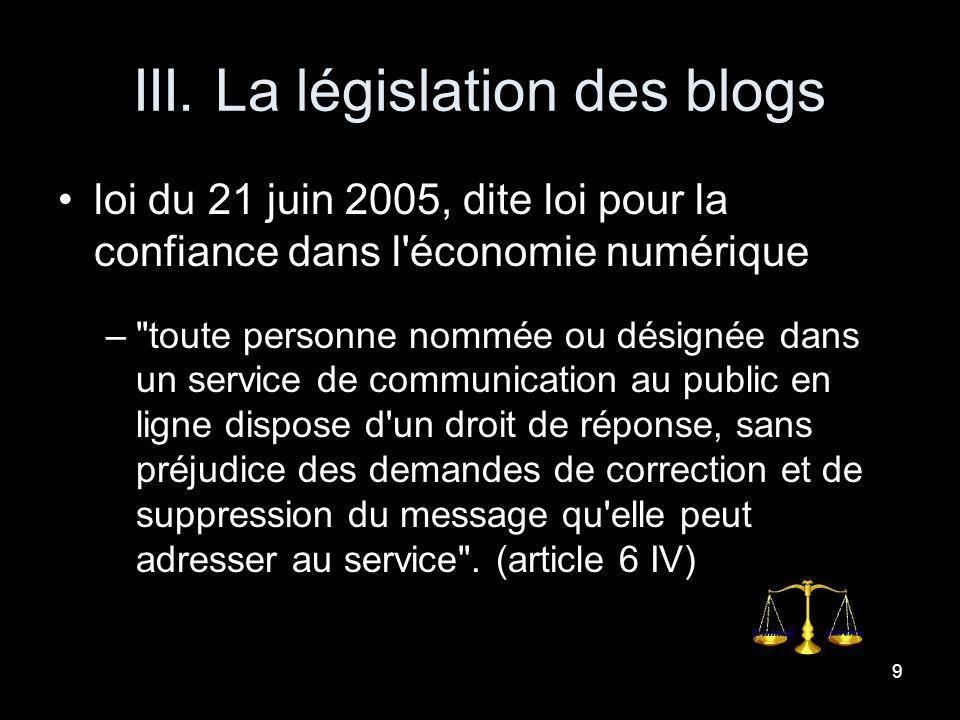 III. La législation des blogs