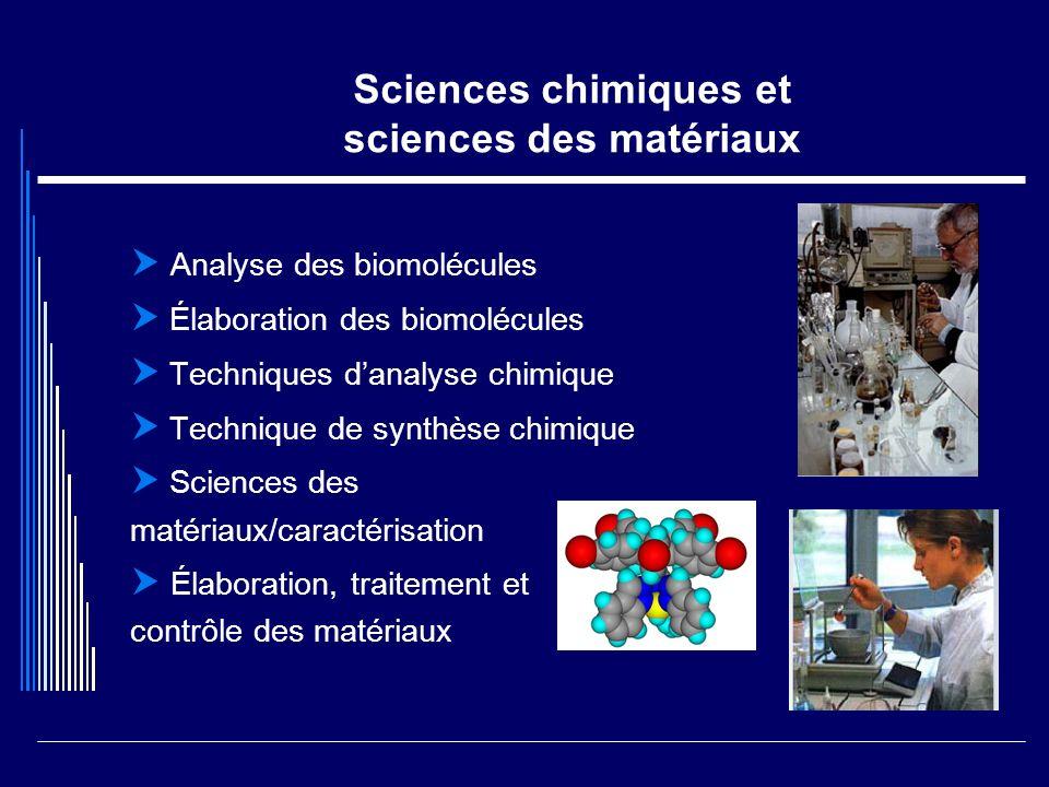 Sciences chimiques et sciences des matériaux