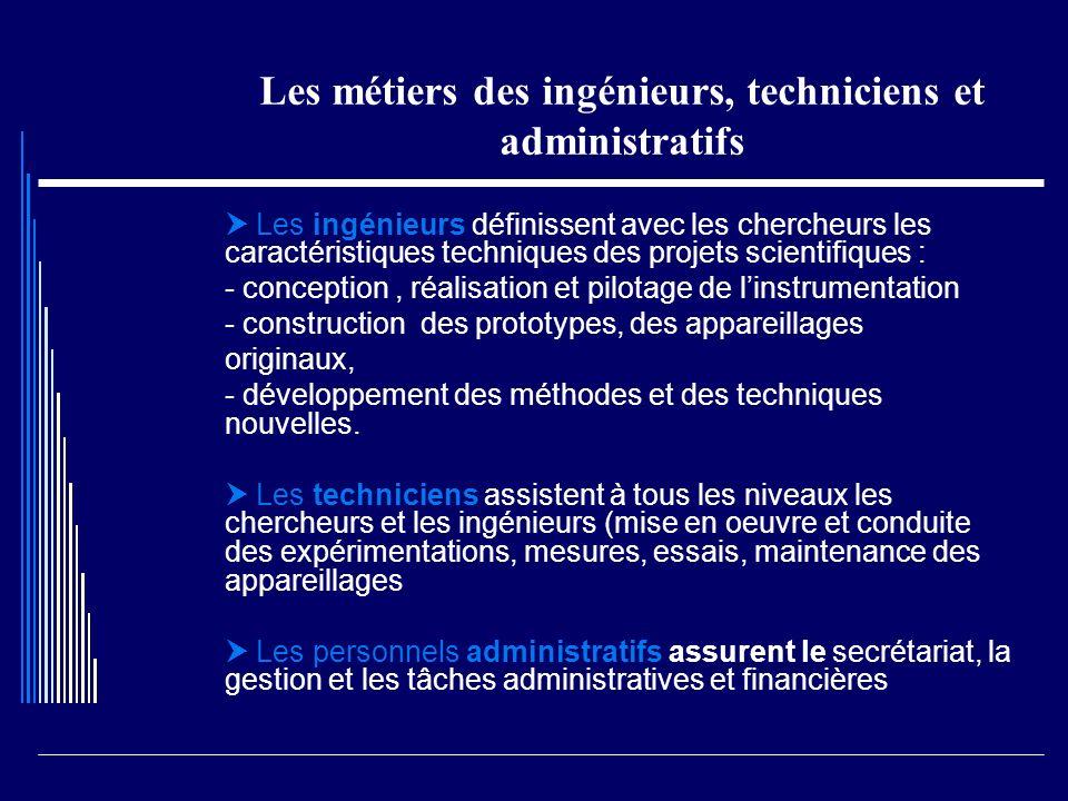 Les métiers des ingénieurs, techniciens et administratifs