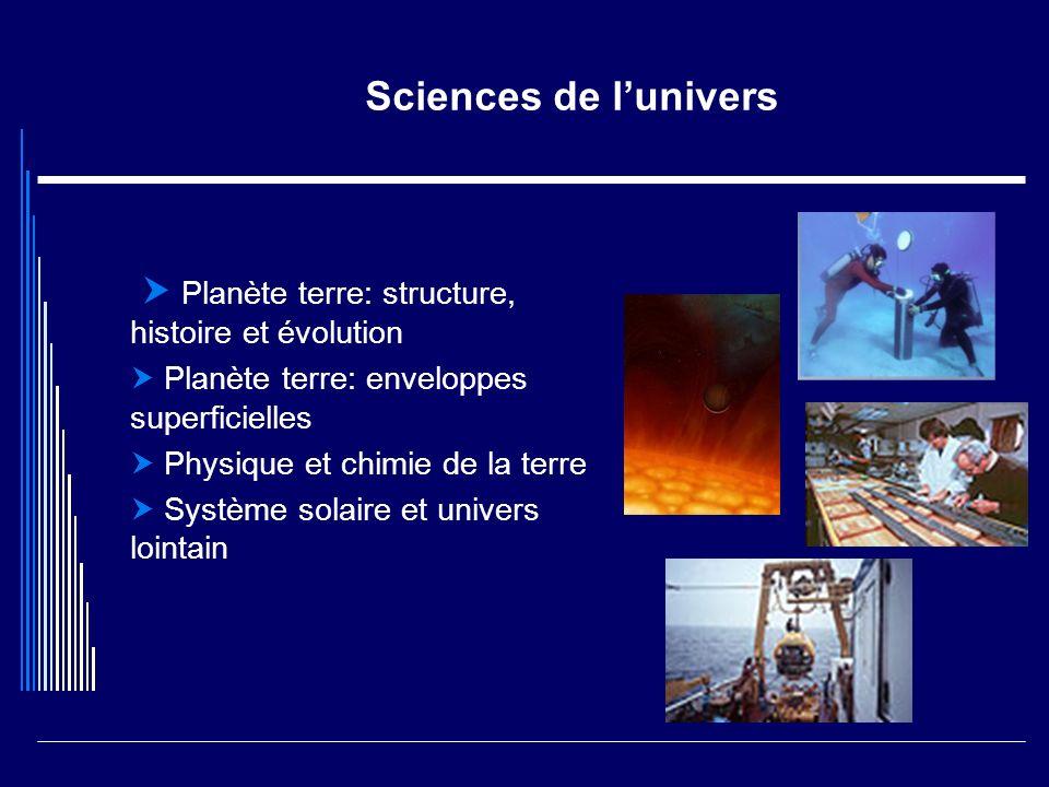 Sciences de l'univers  Planète terre: structure, histoire et évolution.  Planète terre: enveloppes superficielles.