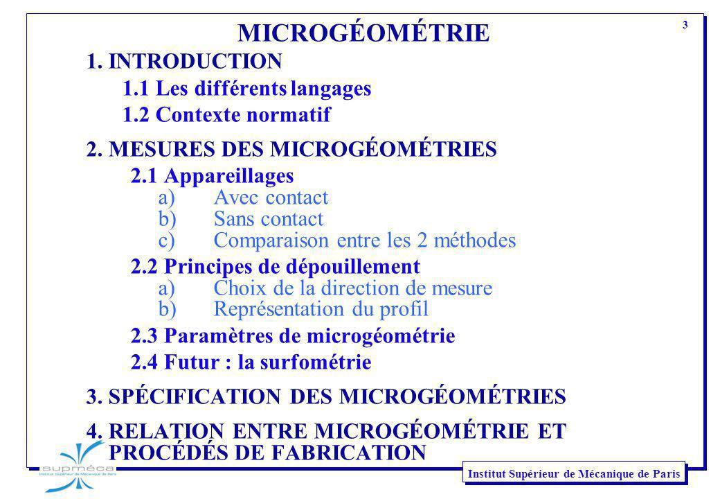 MICROGÉOMÉTRIE 1. INTRODUCTION 1.1 Les différents langages