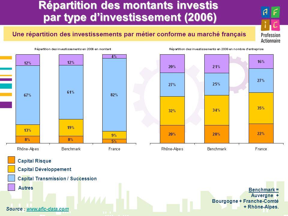 Répartition des montants investis par type d'investissement (2006)