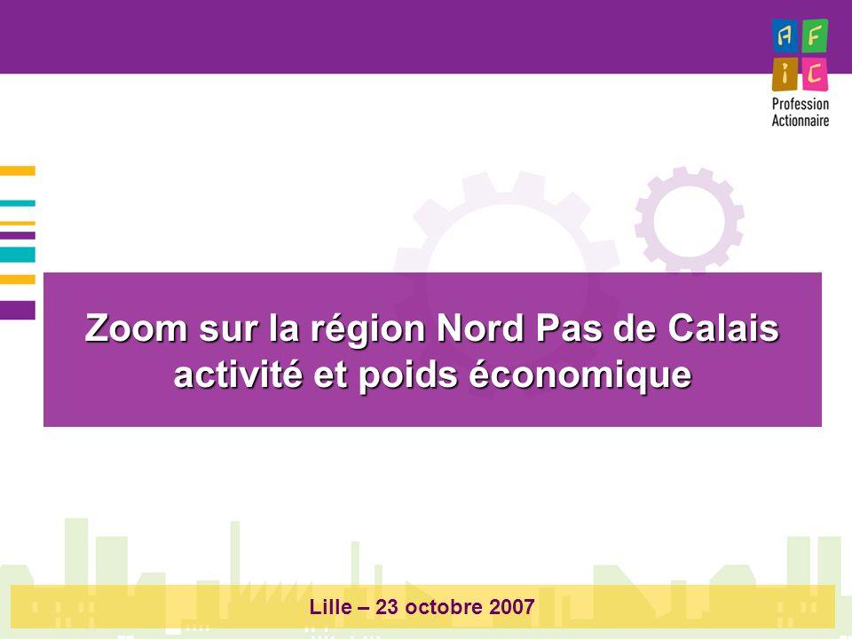 Zoom sur la région Nord Pas de Calais activité et poids économique