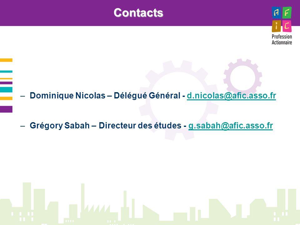 Contacts Dominique Nicolas – Délégué Général - d.nicolas@afic.asso.fr