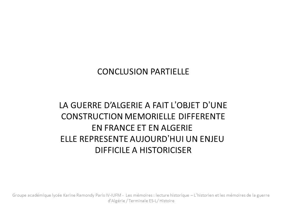 LA GUERRE D'ALGERIE A FAIT L'OBJET D'UNE
