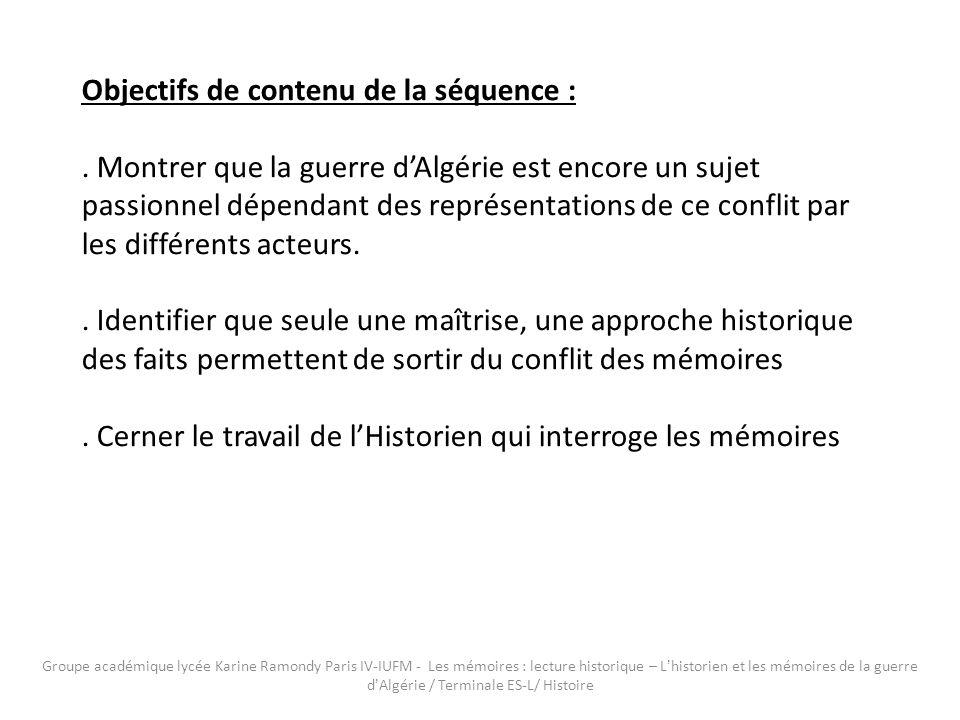 Objectifs de contenu de la séquence :