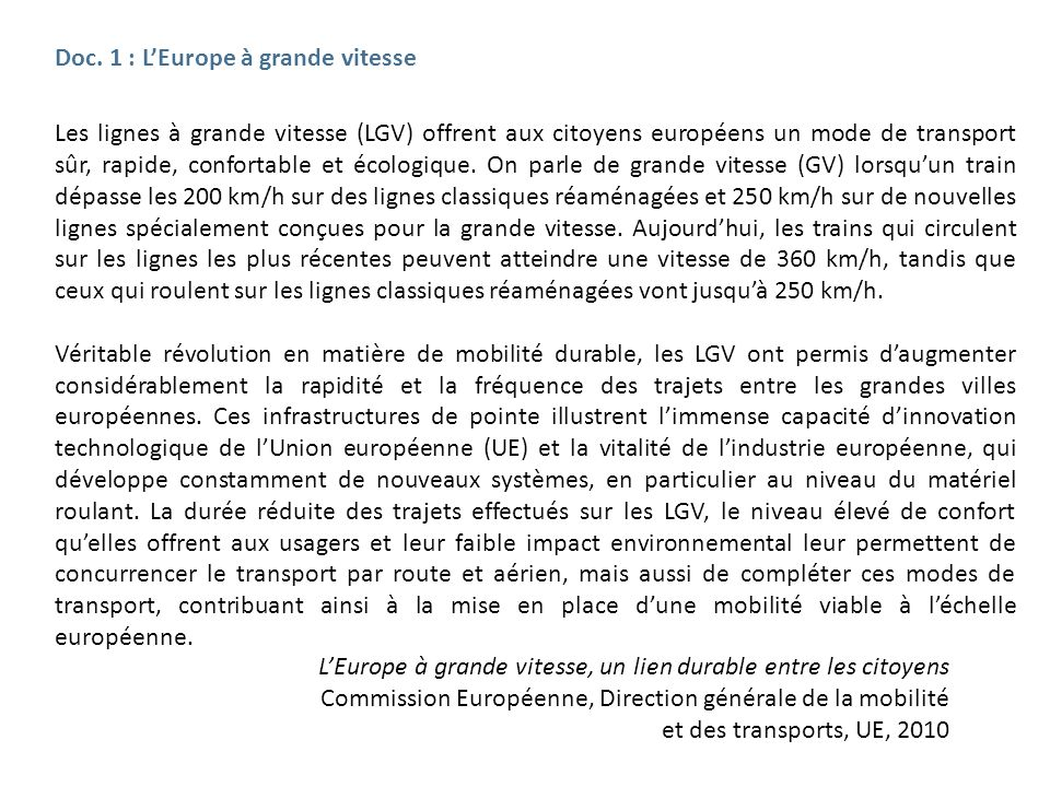 Doc. 1 : L'Europe à grande vitesse