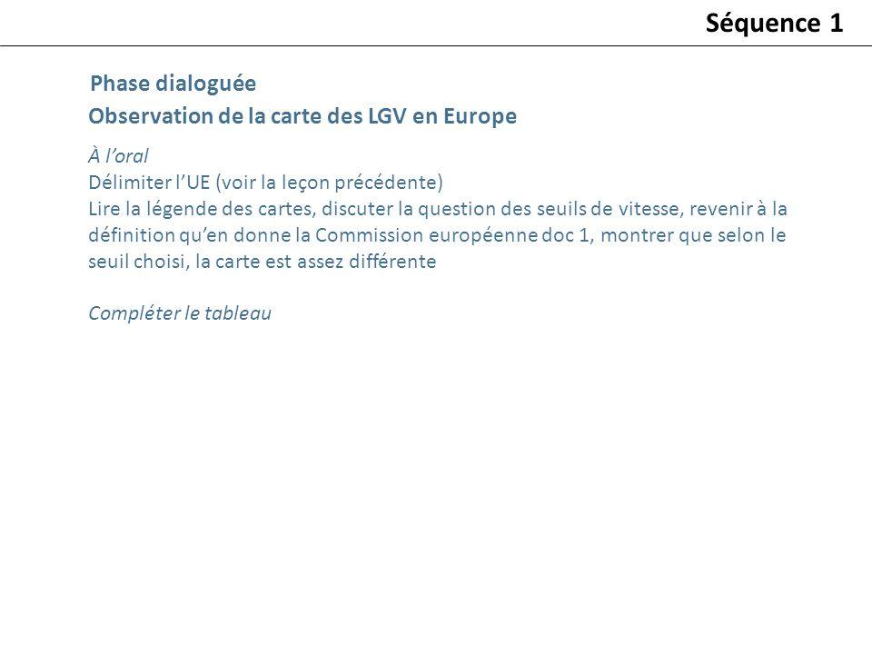 Séquence 1 Phase dialoguée Observation de la carte des LGV en Europe