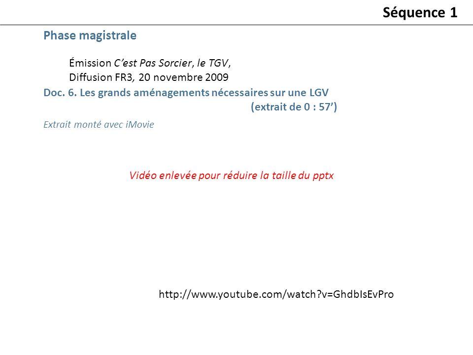 Séquence 1 Phase magistrale Émission C'est Pas Sorcier, le TGV,