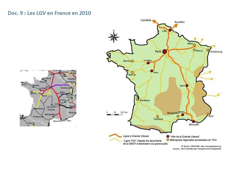 Doc. 9 : Les LGV en France en 2010