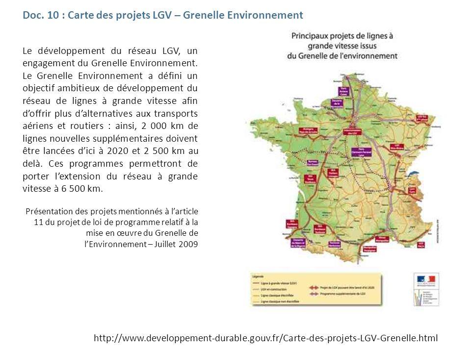 Doc. 10 : Carte des projets LGV – Grenelle Environnement