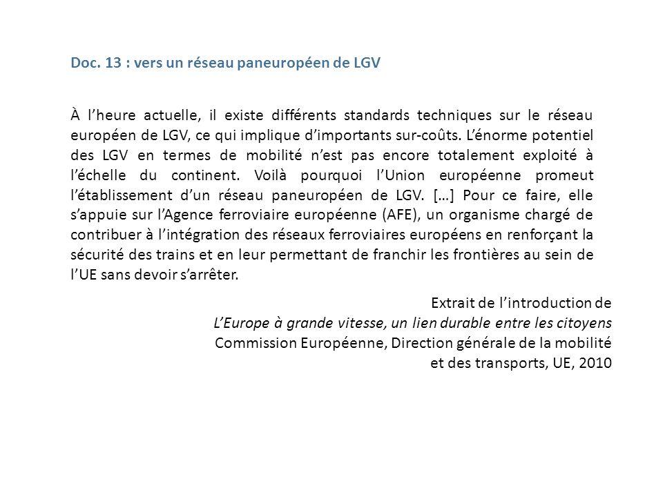 Doc. 13 : vers un réseau paneuropéen de LGV