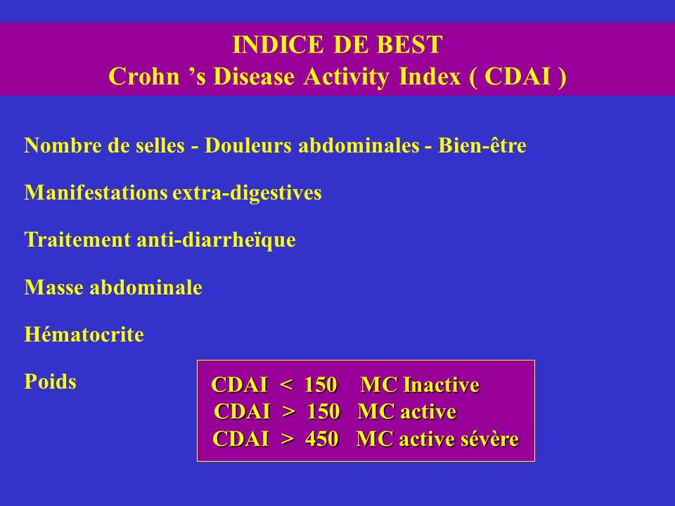 INDICE DE BEST Crohn 's Disease Activity Index ( CDAI )