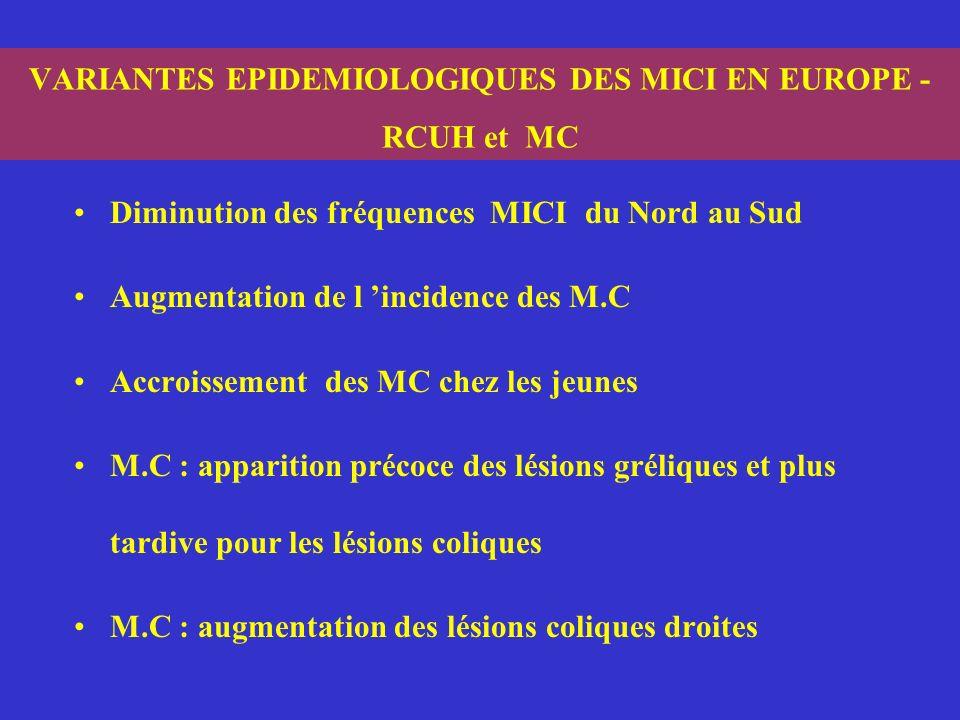 VARIANTES EPIDEMIOLOGIQUES DES MICI EN EUROPE - RCUH et MC