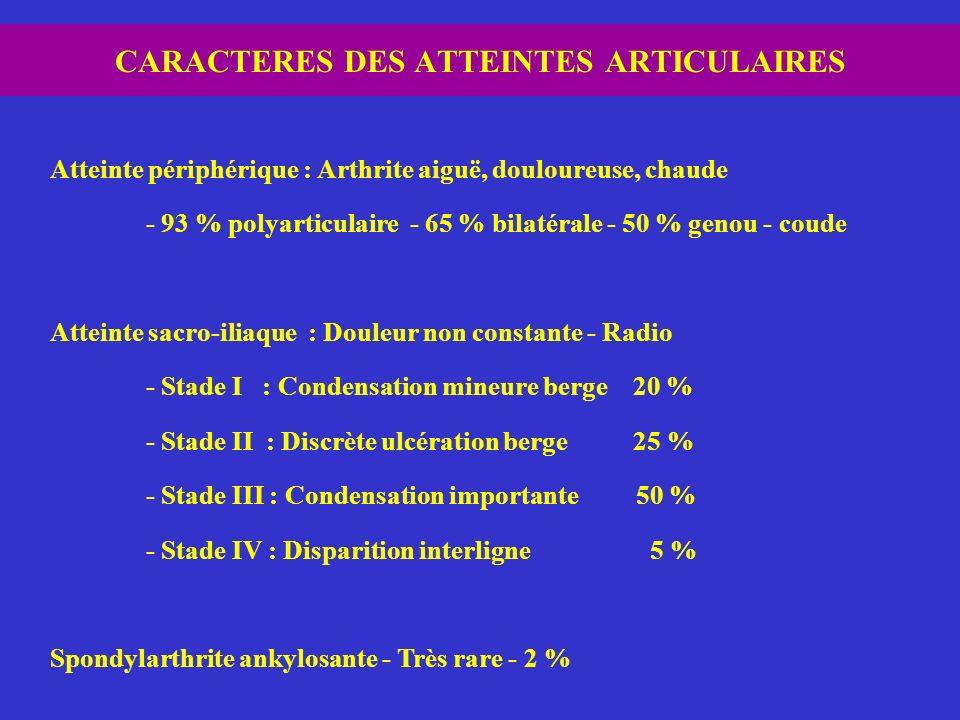 CARACTERES DES ATTEINTES ARTICULAIRES