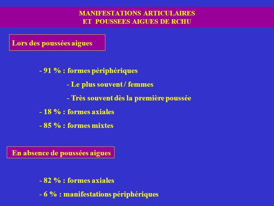 MANIFESTATIONS ARTICULAIRES ET POUSSEES AIGUES DE RCHU
