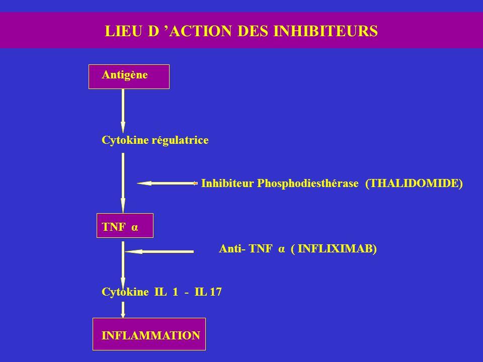 LIEU D 'ACTION DES INHIBITEURS