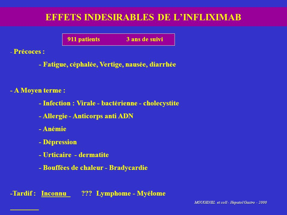EFFETS INDESIRABLES DE L'INFLIXIMAB