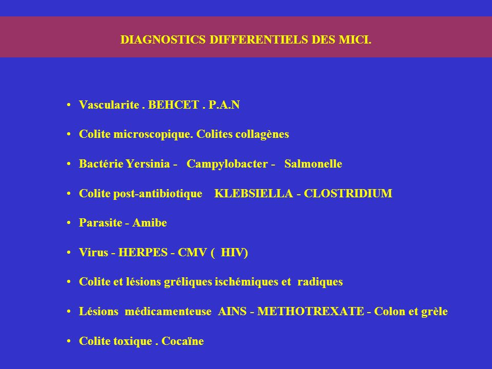 DIAGNOSTICS DIFFERENTIELS DES MICI.