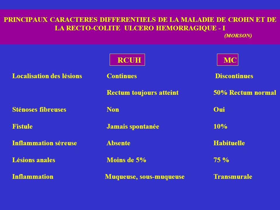 PRINCIPAUX CARACTERES DIFFERENTIELS DE LA MALADIE DE CROHN ET DE LA RECTO-COLITE ULCERO HEMORRAGIQUE - I (MORSON)