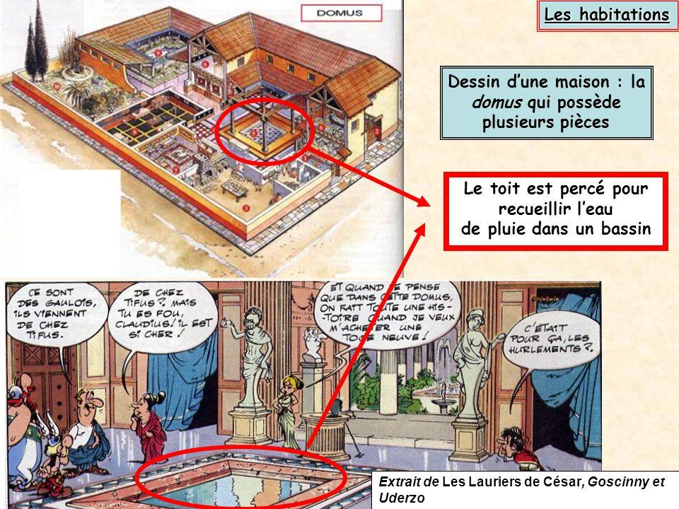 Dessin d'une maison : la domus qui possède plusieurs pièces