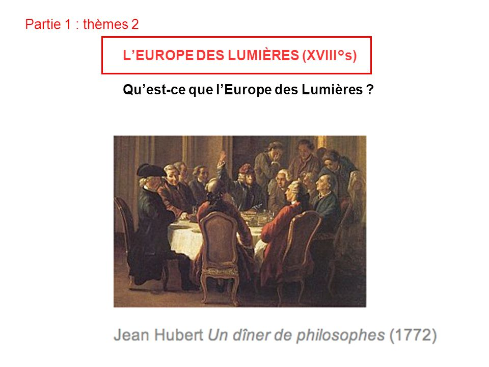 Partie 1 : thèmes 2 L'EUROPE DES LUMIÈRES (XVIII°s) Qu'est-ce que l'Europe des Lumières