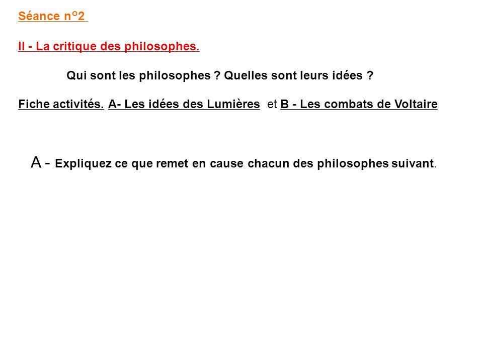 A - Expliquez ce que remet en cause chacun des philosophes suivant.