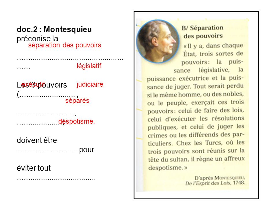 doc.2 : Montesquieu préconise la