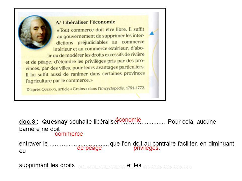 économie doc.3 : Quesnay souhaite libéraliser l'......................... Pour cela, aucune barrière ne doit.