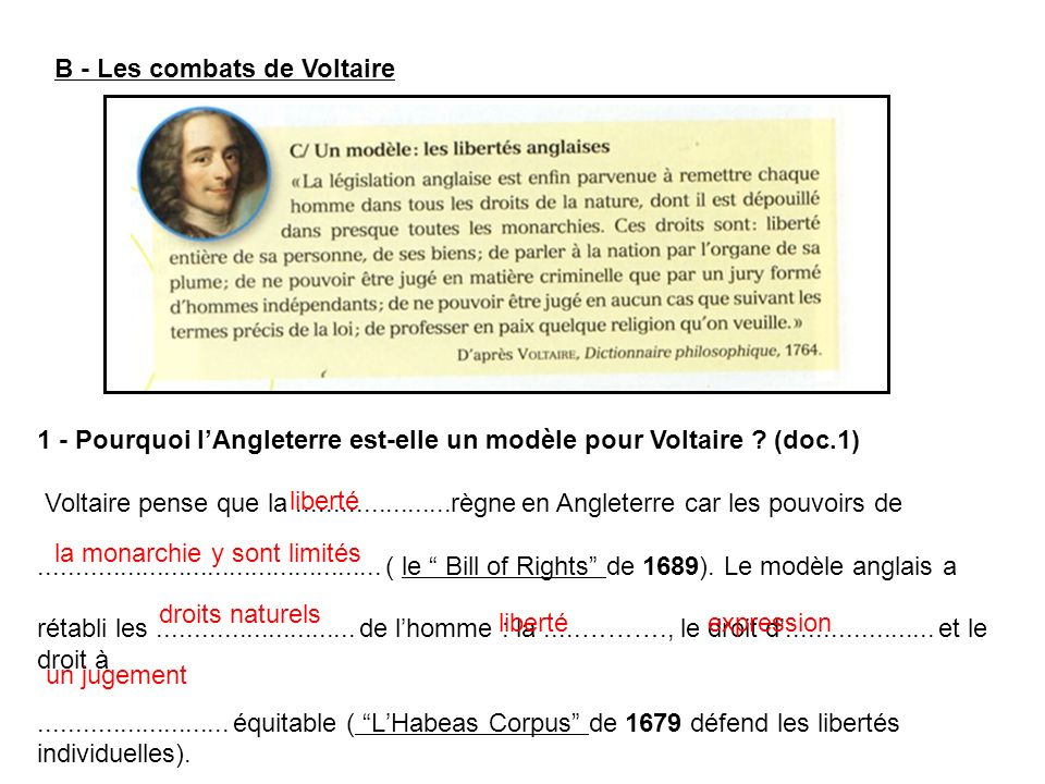 B - Les combats de Voltaire