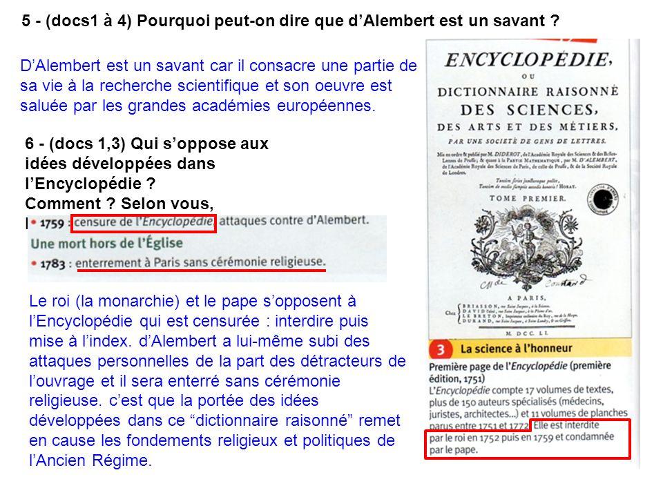 5 - (docs1 à 4) Pourquoi peut-on dire que d'Alembert est un savant