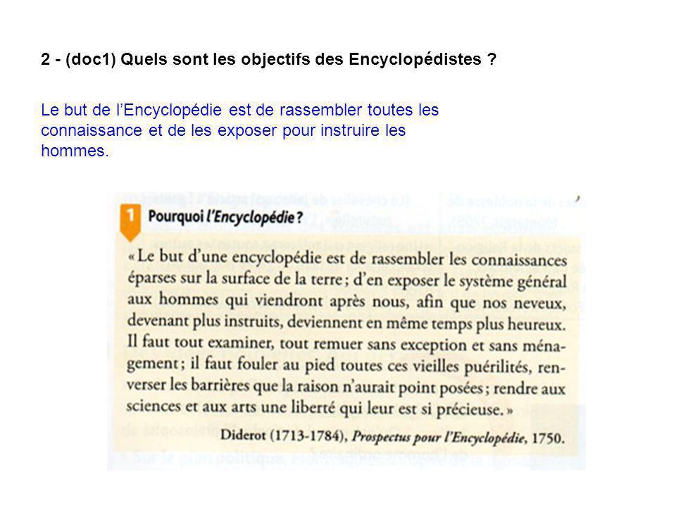 2 - (doc1) Quels sont les objectifs des Encyclopédistes