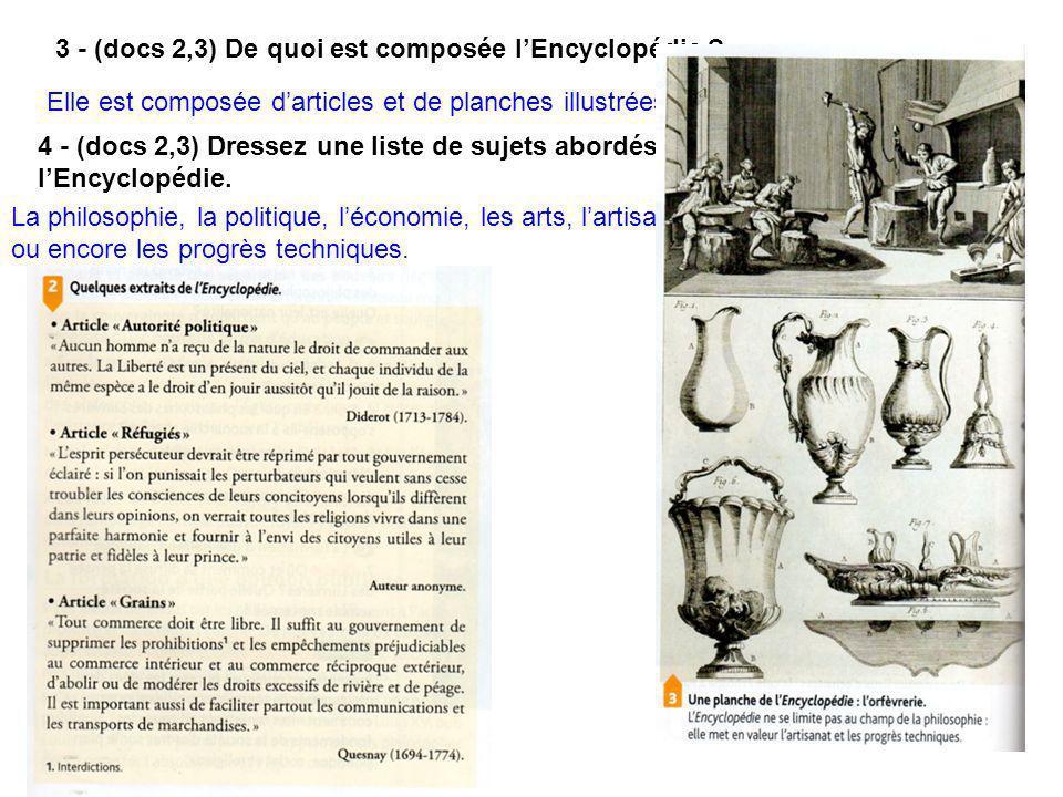3 - (docs 2,3) De quoi est composée l'Encyclopédie