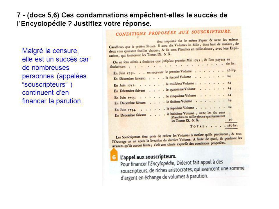 7 - (docs 5,6) Ces condamnations empêchent-elles le succès de l'Encyclopédie Justifiez votre réponse.